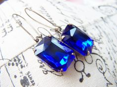 Sapphire Blue Rhinestone Earrings Patina Brass by gristmilldesigns, $19.95