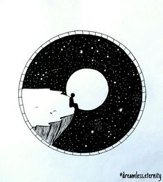 Stift Stift Kunst Skizze Illustration in einem Kreis Kunst schwarz Stift Stift Kunst Skizze Illustration in einem Kreis Stuart Patience --- Mountains and Galaxy Scene Outer Space Artwork RV in the Circle Drawing, Circle Art, Cool Art Drawings, Art Drawings Sketches, Drawing Ideas, Abstract Sketches, Abstract Paintings, Black Pen Drawing, Black Pen Sketches