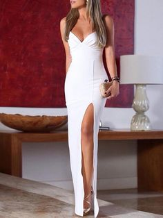 Shop Spaghetti Strap Ruched High Slit Evening Dress right now, get great deals at Chiquedoll Sexy Dresses, Fashion Dresses, Prom Dresses, Formal Dresses, Evening Gowns Uk, Masquerade Attire, Vestidos Sexy, Princess Ball Gowns, Prom Dress Shopping