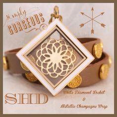 Stunning-- metallic champagne #wrapbracelet and the lovely white diamond #locket!   #southhilldesigns