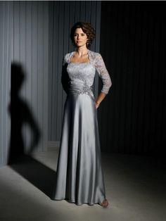 A-line/Princess Strapless 3/4 Sleeves Applique Floor-length Taffeta Mother of the Bride Dresses