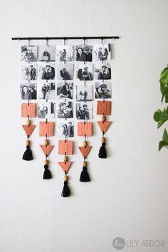 DIY and Crafts 39 Creative DIY Photo Frames Make Your Home Unique Diy decor for home, home decor,DIY Photo Wall Hanging, Hanging Photos, Diy Hanging, Wall Photos, Displaying Photos On Wall, Hanging Pictures On The Wall, Display Family Photos, Hanging Frames, Wall Decor Pictures