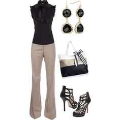 Classy Outfit... love khaki and black. I'd wear simple shoes.  No hears.  Maybe Burgundy.