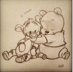 winnie the pooh :) zeichnungen, zeichnung, disney - KUNST Art Drawings Sketches, Cartoon Drawings, Cool Drawings, Drawings About Love, Sweet Drawings, Funny Drawings, Disneyland, Winnie The Pooh Drawing, Pooh Winnie