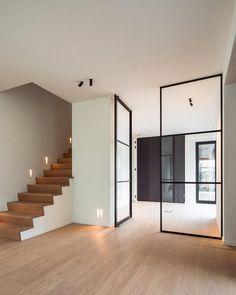 Pivot Doors, Sliding Patio Doors, Internal Doors, Staircase Railings, Staircase Design, Wood Handrail, House Staircase, Railing Design, Modern Interior