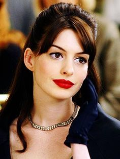 Red lips and a classic eye. The Devil Wears Prada takes a lesson from Audrey Hepburn, and I'll take a lesson from both.