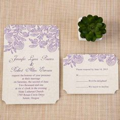 Cheap wedding invitations packs check more image at http affordable floral purple ticket shape wedding invitations ewir267 filmwisefo
