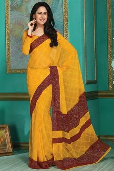 Yellow Color Casual Wear Printed Saree