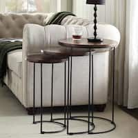 Kari Metal and Wood Brown Round Nesting Table Set