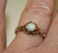 Vintage Opal and Gold Ring, Antique Opal Ring, Vintage Engagement Ring, Victorian Ring, Allsopp & Bliss on Etsy, $325.00