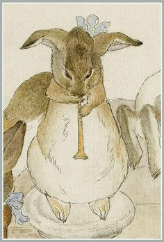 Beatrix Potter 'The Rabbits' Christmas Party - Dancing to a Piper (detail completed) by Plum leaves, via Flickr