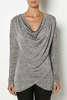 Womens Designer Clothing & Fashion Online | Witchery - Zipper Shloulder Cowl Tee