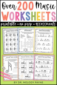 200 printable no-frills music worksheets for elementary, middle, high school,