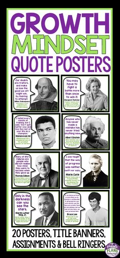 "Brighten up your classroom and inspire your students with these 20 growth mindset posters that feature quotes from famous and influential people in history. Change the poster up once a week for a ""Growth Mindset Quote Of The Week"" (poster for weekly display included!) or use the posters to create a large bulletin display! Bell ringer slide format and student activities are also included!"