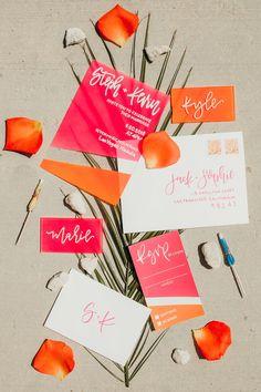 Acrylic Wedding Invitations with Calligraphy // Acrylic Invites // Painted Acrylic Invitations // Pink and Orange // Custom Wedding Stationery // Neon Wedding Stationery // Modern Calligraphy Orange Wedding Invitations, Unique Invitations, Wedding Envelopes, Pink Invitations, Wedding Stationary, Invitation Suite, Invitation Design, Invitation Cards, Match Parfait