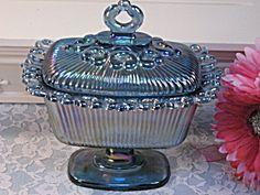 Indiana Glass Lace Edge Purple Carnival Glass Candy Dish (Image1)