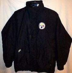 Pittsburgh Pittsburg Steelers Hooded Jacket M MedIum Heavy Duty Winter Coat Nice #PittsburghSteelers