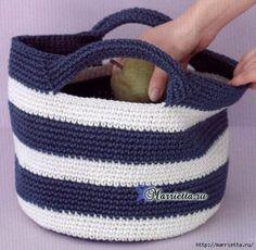 Summer handbag with handles. Crochet pattern.