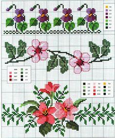 Schemi a punto croce gratuiti per tutti: Schemi a punto croce: Cornici e bordi con fiori colorati