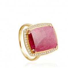 I love this 18 carat yellow gold 8.52 carat rose-cut ruby and pave diamond ring from astleyclarke.com