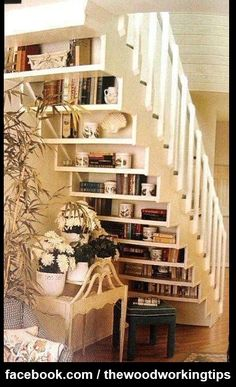 Great idea for using the stairs !!!. More Woodworking Projects on www.woodworkerz.com
