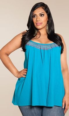 Plus Size Top Plus Size Fashion Plus Size Clothing at www.curvaliciousclothes.com Sizes 1X-6X A flowy, cotton gauze tank with embroidered accents.
