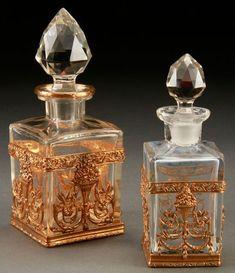 .BACARÁ CUT cristal, de perfumería de bronce dorado