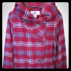 Woolrich Wool Coat/Jacket with Hood Worn twice, like new. Great quality. Very warm and cozy. In style for fall/winter as plaid is popular. Hood has zip and button closure. May switch to wear it as hoodie or cowl collar look. Plaid in red, navy, some tan, and grey. ) Woolrich Jackets & Coats