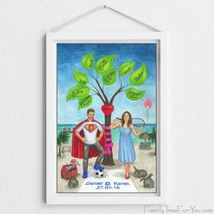 Hand-painted family tree art with portraits makes a great birthday gift for husband. The artwork is fully personalized for your family and reflects the couple's personalities. Family Tree art is a creative way to tell your family story and to preserve your family history for future generations. #familytree #birthdaygiftforhusband #creativegifts #meaningfulgifts #40thbirthdaygift #40thbirthdaygiftforhim #giftsforhusband Birthday Gifts For Husband, 60th Birthday Gifts, Family Tree Art, Best Anniversary Gifts, Personalised Family Tree, Custom Wedding Gifts, Jewish Gifts, Tree Illustration, Parent Gifts