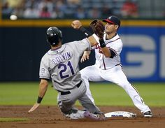 Colorado Rockies' Tyler Colvin (21) slides before being tagged out at second base by Atlanta Braves shortstop Paul Janish on an attempted steal during the second inning of a baseball game Tuesday, Sept. 4, 2012, in Atlanta. (AP Photo/John Bazemore)Photo Rating:12345