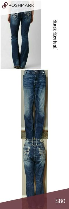 """Rock Revival 34x37 Boris Rock Revival Boris Easy Boot size 34 with a 37"""" inseam. In great preowned condition. Waist flat is 20"""" and rise is 10 1/2"""". First pic is for reference. Rock Revival Jeans Boot Cut"""