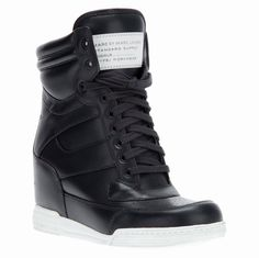 Marc by Marc Jacobs Leather Wedge Sneakers In Black