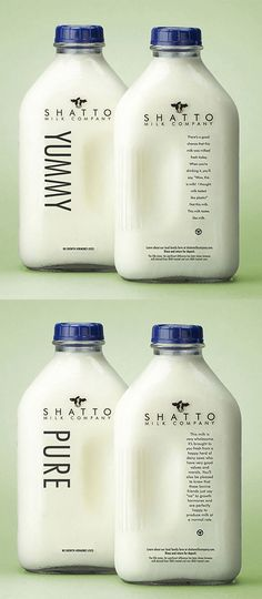 Shatto Milk Company ... Great copy on the milk bottle that tells you that there are chances that the milk you are about to drink was milked today and it actually tastes like milk and not like plastic.