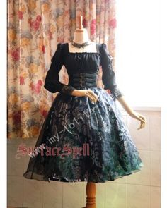 Surface Spell Gothic Silver Prints Lolita Skirt $53.99-Cotton Lolita Dresses - My Lolita Dress