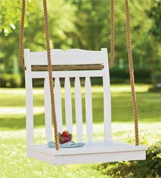 Hanging Chair Tree Swing - I'm sure we all have a few old Captains Chairs or strait backed chair we could convert into a lovely Hanging Tree Chair Swing! Porch Chairs, Old Chairs, Outdoor Chairs, Outdoor Decor, Outdoor Swings, Outdoor Living, Adirondack Chairs, Outdoor Rooms, Pergola Swing