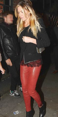 Abbey Crouch dons skintight red Leather Pants