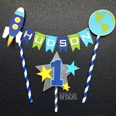 Space Rocket Cake Bunting Topper with Metallic Silver Star Age Cake Topper- Outer Space Birthday Smash Cake - Blue, Green, Aqua Diy Cake Topper, Birthday Cake Toppers, Rocket Birthday Parties, Rocket Cake, Blue Bunting, Niklas, Age, Space Party, Boy Birthday