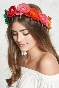 A woven flower crown featuring an assorted row of multicolored flowers.