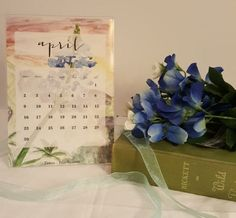 Watercolor State Flower Monthly Calendar by DaisyPrintCompany Free Frames, Printing Companies, Blue Bonnets, Local Artists, 9 And 10, Floral Watercolor, Watercolor Painting, Flower Power, Daisy