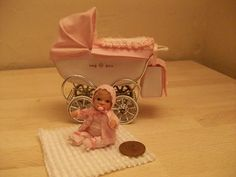 b'ful OOAK baby Victoria + vintage/coach style pram 1/12 scale, dolls house | eBay