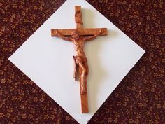 Wall Crucifix  Crucifix Wood Carving   by TheWoodGrainGallery