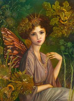 """The Faerie Queen"" - Annie Stegg, oil on panel, 2013 {figurative #surreal art beautiful female with butterfly wings woman painting} anniestegg.com"
