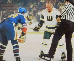 51 Year old Gordie Howe faces off against 18 year old Wayne Gretzky.  Embedded image permalink