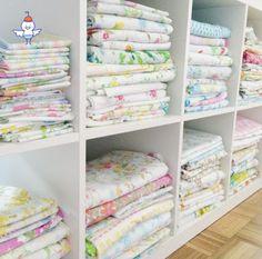 shelves of vintage sheets