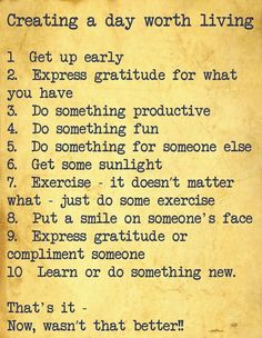 To be successful you need a plan. Start with this and if you complete it each day count it as a win. Each and everyday count it as a win. Same with working your own home business, count the daily wins and success follows. www.create-a-life-of-abundance.com