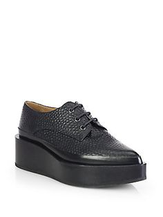 Jil Sander Lace-Up Oxford Leather Platform Flats