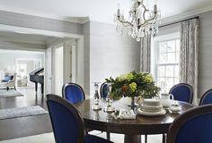 Edgcumbe Road   Martha O'Hara Interiors - amazing portfolio. rich blue chairs grey blue grass cloth walls and beautiful window treatments. drooling.
