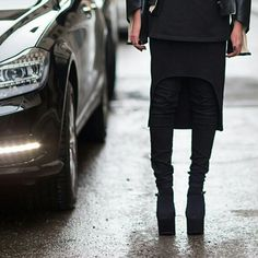 Skirt over pants, high heels  @Lou Faria- #webstagram