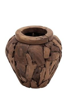 Brown Teak Wood Vase