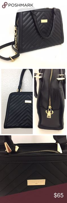 """🎉HP🎉NWT BCBG Paris Quilted Bag- OFFERS WELCOME! Such a lovely everyday bag! Versatile, polished and oh so chic! Add some posh into your everyday style with this quilted black  faux- leather bag by BCBG Paris. Comes with removable crossbody strap. Has gold hardware for that extra posh quotient. Has one interior zip pocket, 2 slip  pockets and one exterior zip pocket. 12.5""""W X 9.6""""""""H X 5""""D. Has an 8"""" handle drop and maximum strap length is 53.5"""". Comes from a smoke free home :) BCBG  Bags"""
